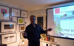 David holding a lecture at trackside.contemporary gallery
