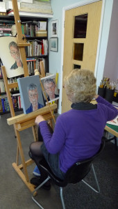 Artist at work in the studio
