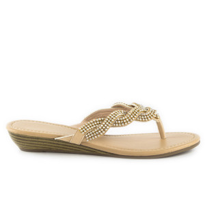 Shoe Zone Lilley Womens Nude Diamante Toe Post Sandal 12.99