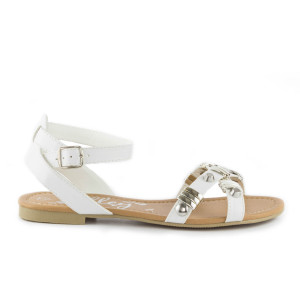 Shoe Zone Lilley Womens White Strappy Sandal with Metal Trim 12.99 now 9.99